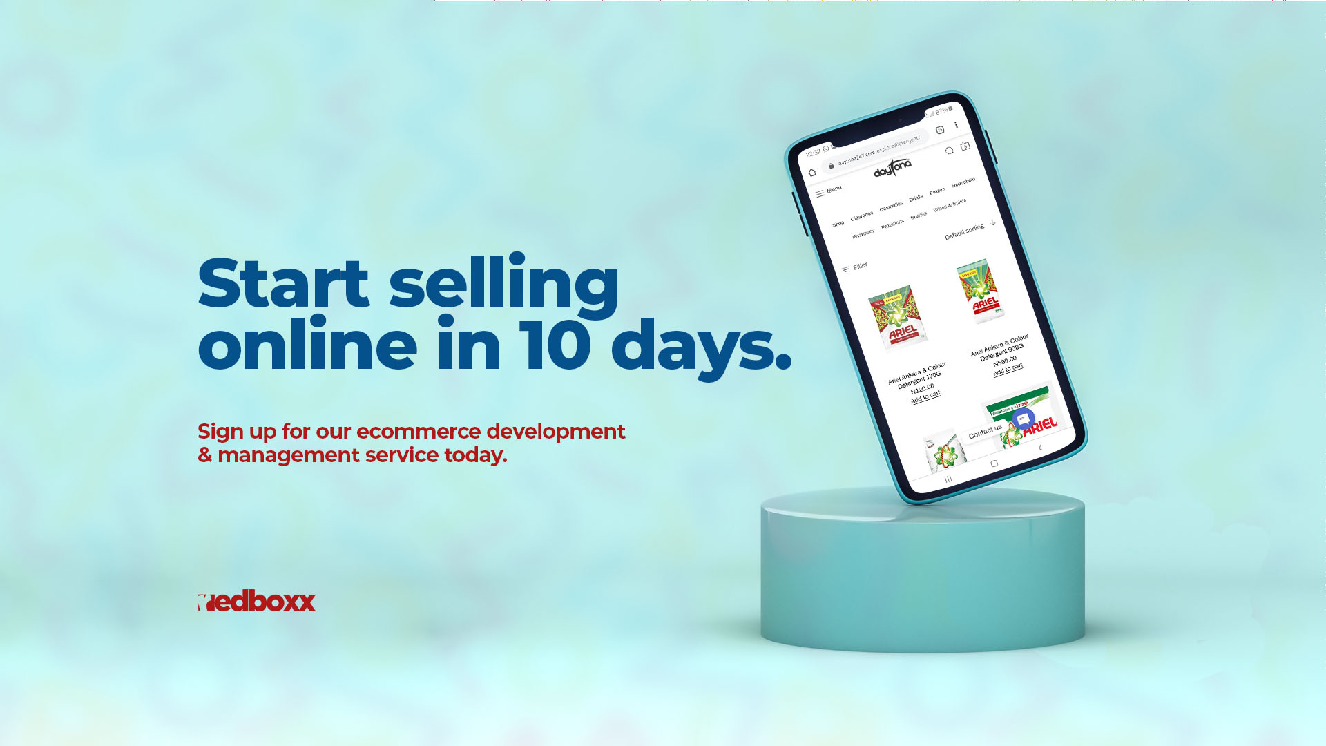 RedBoxx eCommerce Start Selling in 10 Days Wide